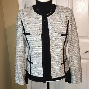 Kasper Blazer Black White with Silver Thread 14P